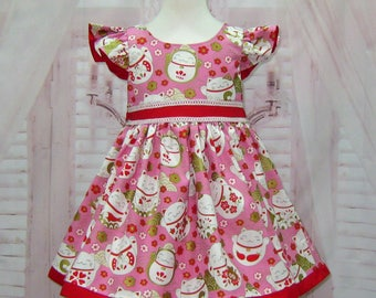 SALE Ready To Ship Pink and Red Girl Dress, Red and Gold Girl Dress, Lucky Chinese Cat Dress,  Kitty Dress,  Cat Dress, Flower Girl  Dress