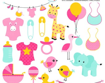 Girl's Baby Shower Clipart Set - clip art set, bibs, animals, stork, duck, pram, baby - personal use, small commercial use, instant download