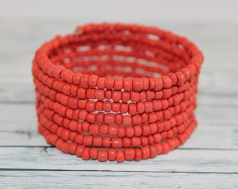 Matte coral red glass beads memory wire bracelet