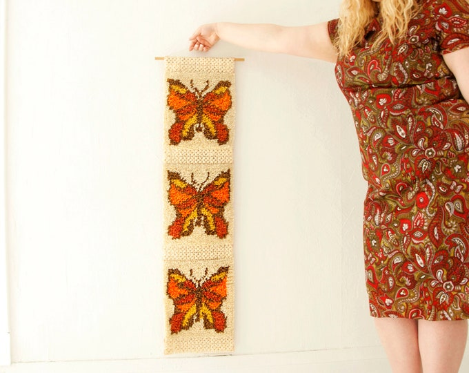 Vintage butterfly wall hanging, long ivory white orange brown gold latch-hook butterflies decor boho 1970s retro