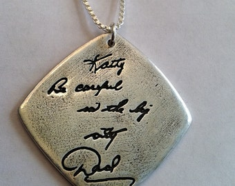 Single Sided Memorial Jewelry Your Actual Loved Ones Writing Silver Pendant - Made to Order by Surfingsilver