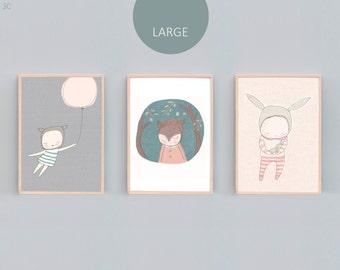 "A2, 16x20"", A3 and 11 x 14"" Art Print Set Three, Bear Nursery Prints, Rabbit Nursery Prints, Bunny Print, Peach, Grey, Mint, Green - 3C"