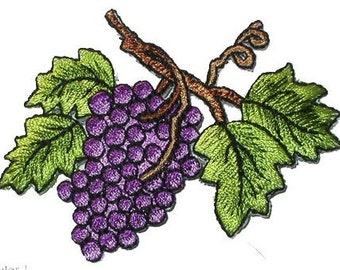 iron on patch applique grapes on vine