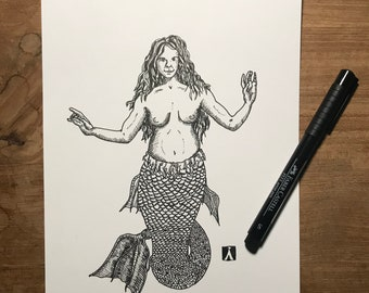 Original Pen And Ink Drawing of Mermaid Dog (prints also available)