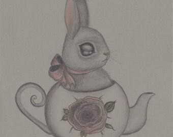 Bunny in a teapot art print , bird drawing , illustration , woodland print