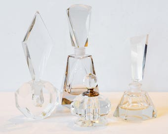Four Antique Art Deco Perfume Bottles