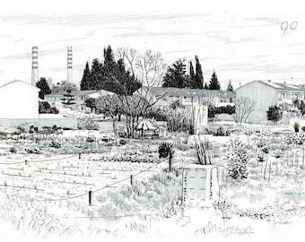 Oristano, the Torangius garden. Original drawing.