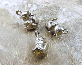 Set of Three (3) Pewter Hatching Chick Easter Charms- 5272