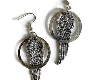 Antiqued Silver Wing Steampunk Earrings - Steampunked Neo-Victorian Industrial Watch Gift Idea Salvaged Parts Found Goth Dangle Drop Earwire