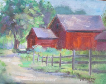 Barn Painting, Oil Painting, Original painting, Landscape, Small Painting, Oil Paintings, Original Paintings, Oil on Canvas Art Sue Whitney,