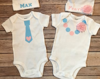 Boy Girl TWINS sets Tie outfit Necklace outfit with matching hats