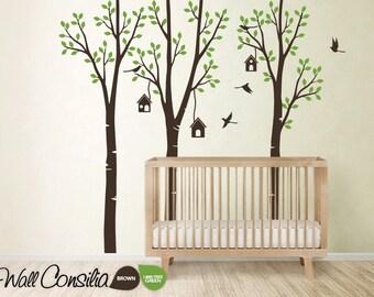 "Baby Nursery Wall Decals - Birdshouse Decal - Tree Wall Decal - Tree Wall Decals - Tree Wall Decal with Birdhouses, Large: 96"" x 93"" - KC021"