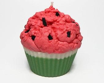 Jumbo Watermelon Cupcake Candle