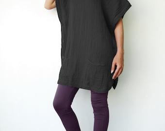 NO.82 Black Double Cotton Gauze Wide Stand Collar Tunic Top-Cape-Vest