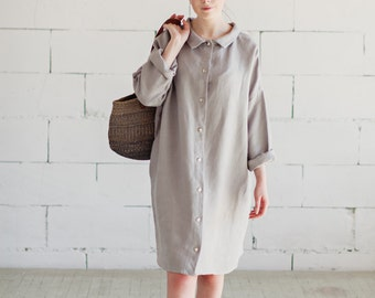 100% Linen Light Grey Dress, hand made in London, sustainable, artisan, fashion