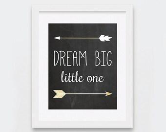 Dream Big Little One Print, Arrows Printable Art, Boho Nursery Art, Chalkboard Nursery Wall Art, Modern Nursery Decor