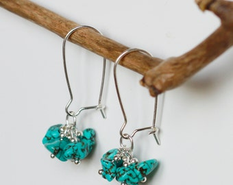 Silver 925 and turquoise cluster earrings