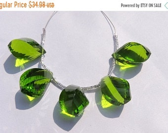 25% OFF Summer Sale 5 Pcs Beautiful Peridot Green Quartz Faceted Twisted Drops Briolette Size 19*10 MM