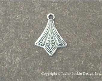 Antiqued Sterling Silver Plated Victorian Earring or Pendant Drop (item 1110 AS) - 18 Pieces