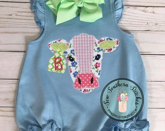 Zig Zag Cow Head Applique Design ~ Tag on Ear for Number or Monogram ~ Instant Download