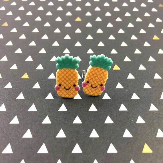 pineapple, smile, stud earring, green, yellow, print on plastic, shrink plastic earring, stainless stud, handmade, les perles rares