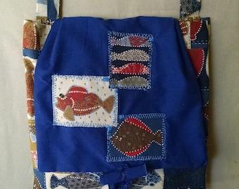 Cotton shoulder bag, Bag with fish, Three pocket purse, multi-pocket purse