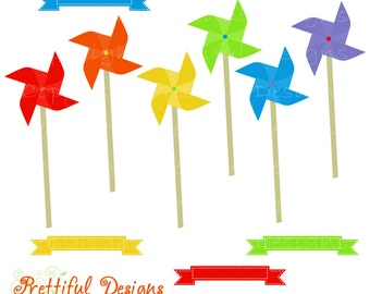Rainbow Pinwheel Clip Art Ribbon Digital Scrapbook clipart