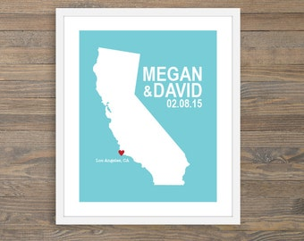 Personalized Wedding Art Print - California State -  Custom Location and State - 8x10 - Map Print - Blue and Red