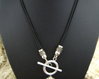 Funky Cool Leather Necklace with a Front Toggle Closure and Large Round Chinese Crystal