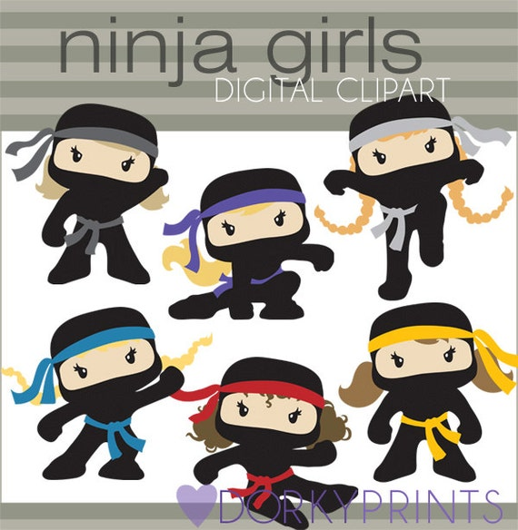 ninja clipart personal and limited commercial cute girl