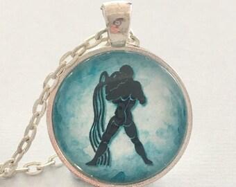 AQUARIUS glass pendant necklace, Astrology necklace, Aquarius jewellery, Silver astrology necklace