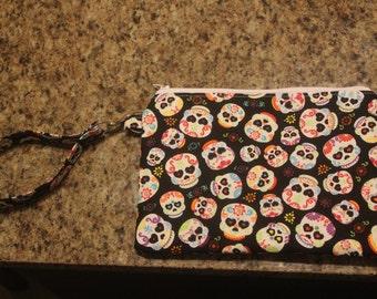 Sugar skulls zippered wristlet/clutch