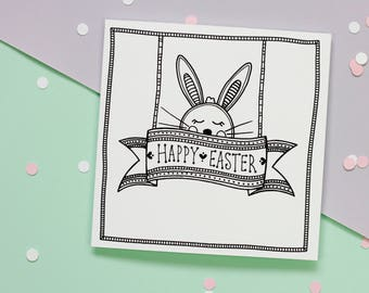 Easter Bunny Handmade Cards | Black and White Pattern Rabbit Shabby Easter Greeting Card | Gift For Her