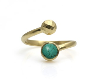 Gold turquoise ring Etsy