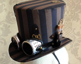 Steampunk Top Hat with Goggles,Burning Man Hat for WOMEN,Brown & Black Striped Top Hat,Cosplay Ladies Top Hat,Festival Top Hat-Made to Order