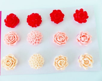 12 red rose 3 colors and 4 different flower cabochons resin flowers and salmon 20mm adhesive