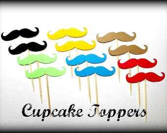 Cupcake Toppers-12 Mustache Fiesta Party Pack-The Handlebar- Mustache on a Stick- Little Man Party- Mustache party- Little Man