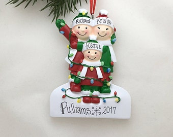 3 Family Tangled in Lights Family / Personalized Christmas Ornament / Family Ornament