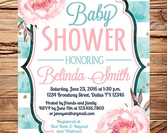 Baby shower invitation flowers baby shower invitation navy watercolor roses baby shower invitation turquoise pink glitter gold turquoise watercolor stripes boy girlbaby shower 1701 filmwisefo