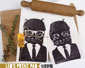 Hand screen printed 'Cool Cat Flip' Linen Tea Towel