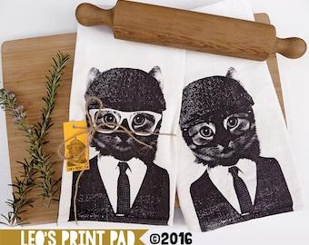Hand screen printed 'Cool Cat Flip' Linen Tea Towel