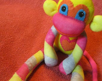 Hoopla - Best Friend Sock Monkey Plush - Yelow Stripes Pink - Handmade Doll
