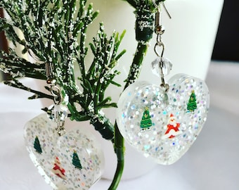 Earrings, christmas earrings, resin jewelry, resin earrings, santa claus earrings, pendant earrings