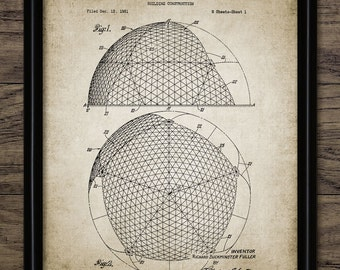 Vintage Buckminster Fuller Patent Print - 1954 Building Design - Architecture - Geodesic Dome - Single Print #906 - INSTANT DOWNLOAD