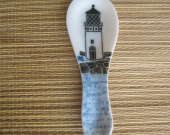 Fused Glass Lighthouse Spoon Rest