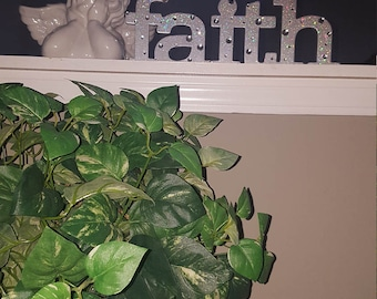 "Silver Bejewled ""FAITH"" Word Art"