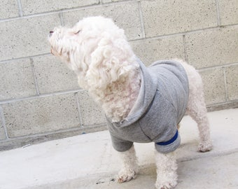 Gray French Terry hoodie Dog Top Dog Clothing Made in USA for small dogs