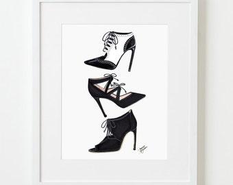Bootie Trio Fashion Illustration Art Print / Fashion Sketch Art, Fashion Art Print, Fashion Wall Art, Shoe Art, Shoe Wall Art, Shoes, Heels