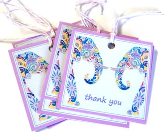 8 Colorful Elephants Gift Tags, Note Tags, Hang Tags, Merchandise Tags, Party Favor Tags, Takuniquedesigns