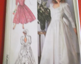 UNCUT and FF Pattern Pieces Sizes 8 - 14 Jessica McClintock 1980s Wedding Dress and Bridesmaid Dress with Funnel Neckline
